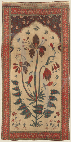 Indian, Deccan, flowers. Textile art, Fine art print