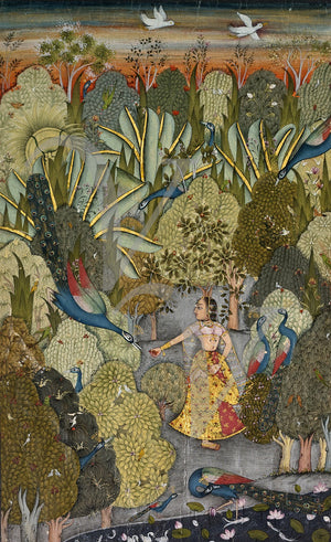Indian Ragamala painting of a woman with peacocks. Fine art print
