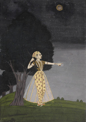 Woman in the Night. Indian Ragamala painting. Fine art print