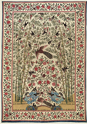Indian textile art of Peacock, bamboo and Birds. Vintage exotic nature. Fine art print
