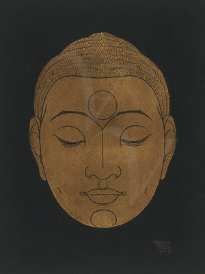 Buddha head antique artwork. Siddhartha. Fine art print