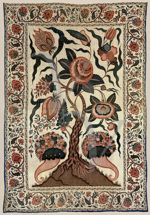 Indian flower tree from a vintage textile hanging artwork. Fine art print