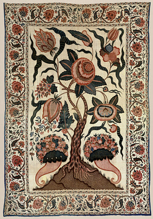 Indian flower tree from an antique textile nature artwork. Fine art print