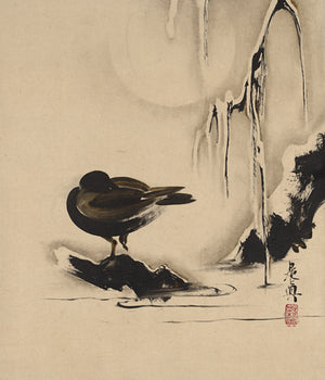 Bird in the snow. Japanese lacquer painting. Fine art print