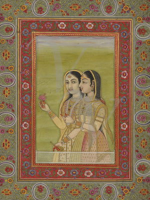 Two women antique Indian painting. Fine art print