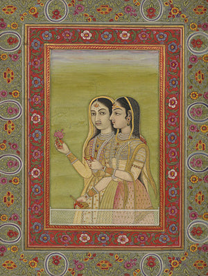 Two Indian women antique painting. Fine art print