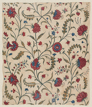 Indian floral textile design. Antique flowers India. Fine art print