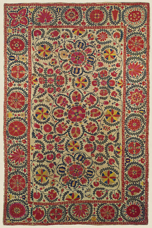 Floral textile art design from Uzbekistan. Fine art print