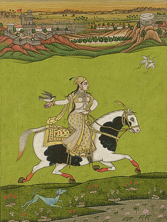 Indian painting of a woman on horseback with a bird (possibly a falcon).  Fine art print