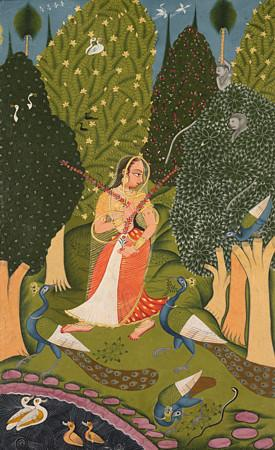 Woman with Peackcocks. Indian Ragamala Painting. Fine Art Print