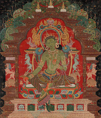 Tibetan antique painting of the Buddhist deity Green Tara. Fine art print