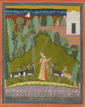Woman with forest animals. Indian ragamala painting. Wall art.