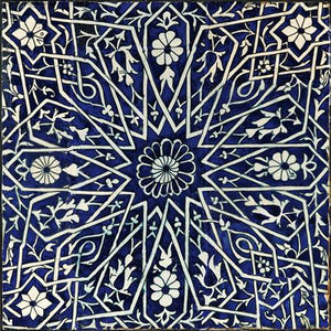 Exotic antique blue tile design. Uzbekistan. Fine art print