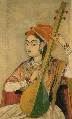 Indian painting of a woman playing music. Fine art print