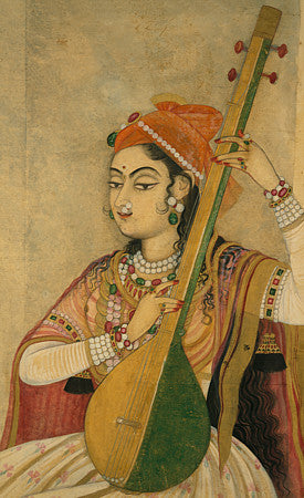Indian woman playing the Tanpura. Fine art print