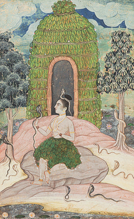 Indian Ragamala painting of a Princess with snakes. Fine art print