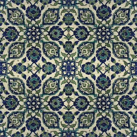Ottoman tile design from Damascus, Syria. Antique exotic floral. Fine art print