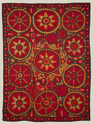 Traditional textile design from Uzbekistan. Bold floral patterns. Fine art print