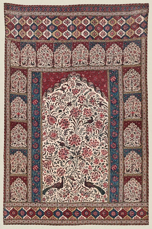 Persian textile design with peacocks, birds and flowers. Fine art print