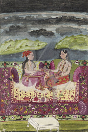 Antique Indian painting of two seated women. Deccan Fine art print