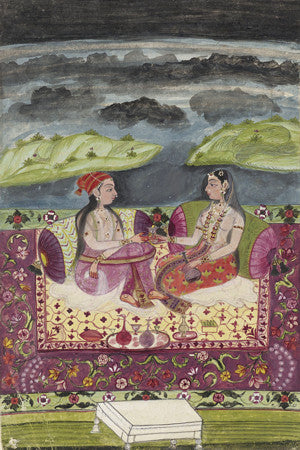 Antique Indian painting of two seated women. Fine art print