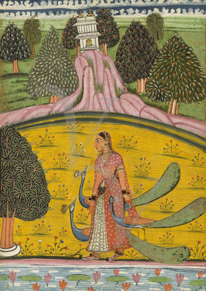 Indian ragaini painting of a woman with three peacocks near a lotus pond