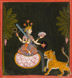 Hindu four-armed Devi, the Goddess Mangala, wih a tiger. Indian painting. Fine Art Print