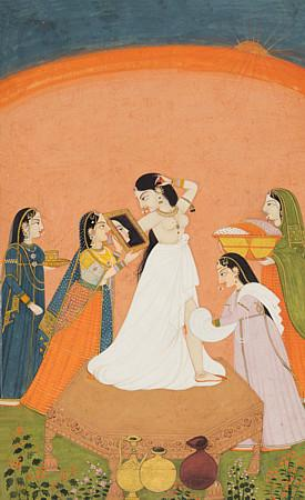 Indian, Pahari painting of a lady with her attendants. Fine art print