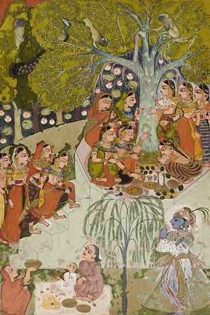 Tree worship. Indian painting. Rajasthan. Fine art print