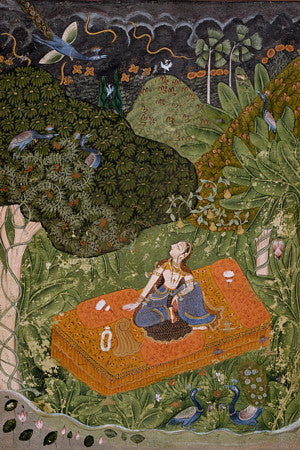 Utka Nayika. Woman in forest Indian painting. Fine art print