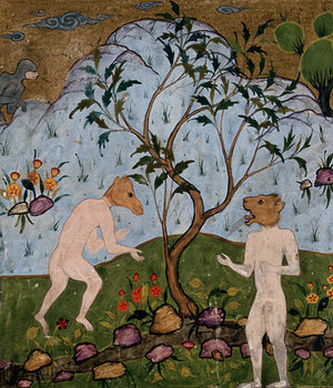 Persian painting of mythological human creatures with animal heads.