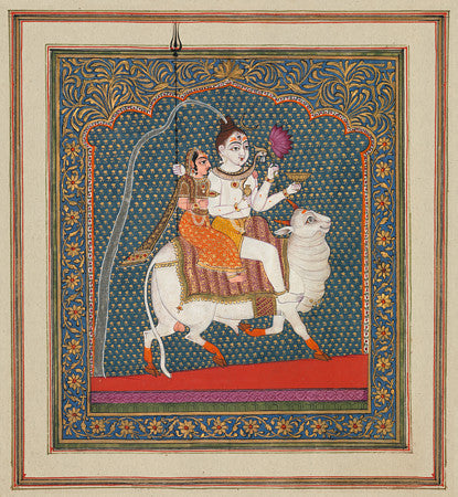 Shiva and Parvati Riding Nandi. Indian painting. Fine art print
