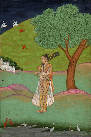 Indian, Mughal, ragamala painting of a woman in a landscape holding a fan. Fine art print