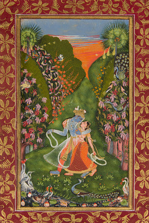 Krishna and Radha in the forest. Indian painting. Fine art print