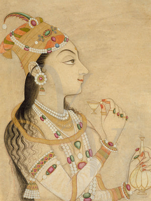 Portrait painting of the Mughal Empress Nur Jahan (Noor Jahan). Fine art print