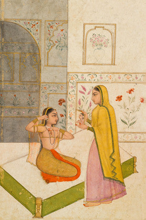 Vilaval Ragini. Indian, Mughal ragamala painting of two women. Fine art print