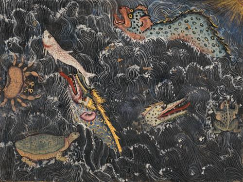 Creatures of the sea from the Tuti-nama (Tales of a Parrot). Mughal painting. Fine art print