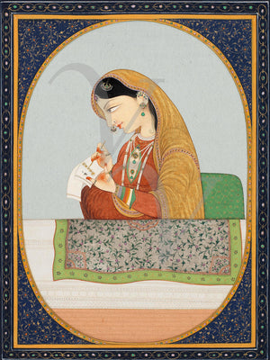 Indian woman writing a letter. Kangra painting. Fine art print