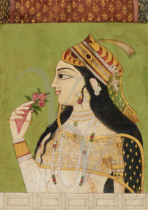 Deccan painting of an Indian woman holding flowers. Fine art print
