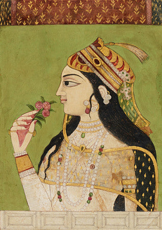 Indian woman holding flowers. Deccan painting. Fine art print