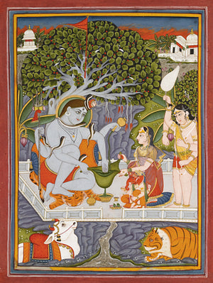 Indian painting of Shiva and Parvati under a Banyan tree. Fine art print