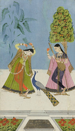Gujara Ragini. Indian Ragamala painting of two women and a peacock.  Fine art print