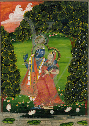Radha and Krishna in the Garden. Indian painting. Fine art print