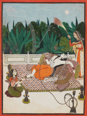Reclining Woman Smoking a Hookah. Indian painting. Fine art print