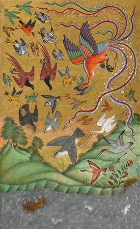 Persian bird painting with a Simurgh, from Mantiq al-tair. Language of the Birds. Fine art print
