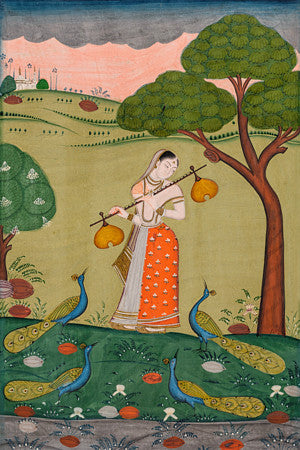 Woman in a landscape with peacocks. Kakubha Ragini . Indian Ragamala painting.