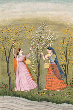 Painting of two Indian woman with blossoming trees near a river. Fine art print