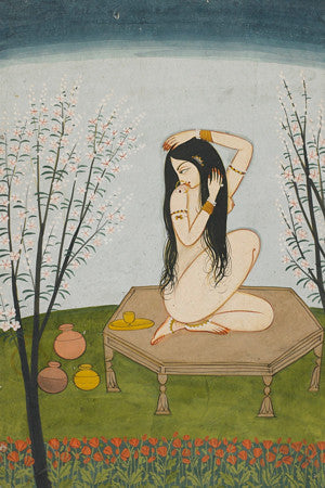 Bathing woman. Antique Indian painting. Fine art print