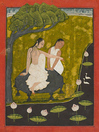 Women Near a Lotus Pool. Indian painting. Fine art print