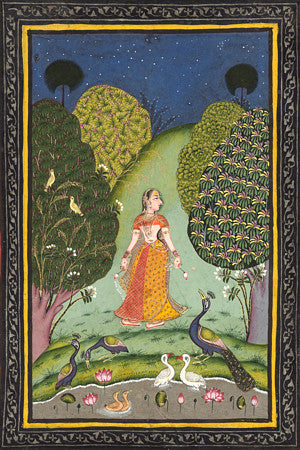 Woman with Peacocks and Lotus Blooms. Indian Ragamala painting. Fine art print